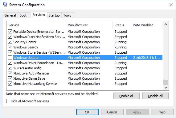 how to stop windows update service